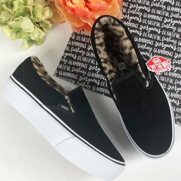 2f26b8b2130705 Vans classic faux fur slip on leopard platform 9
